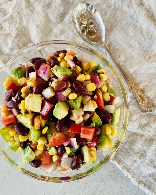 Recipe for Bean and Corn Salad with a vinaigrette dressing